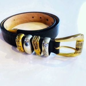 Western Leather Two Tone Metal belt